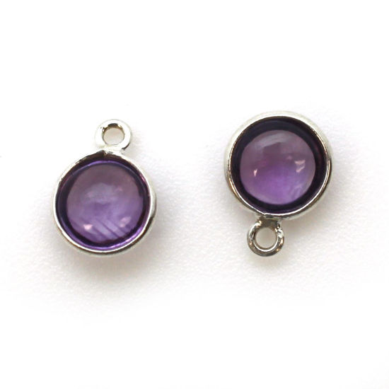 Wholesale Bezel Charm Pendant - Sterling Silver Charm - Natural Amethyst -Tiny Round Shape