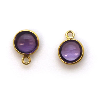 Wholesale Bezel Charm Pendant - Gold Plated Sterling Silver Charm - Natural Amethyst -Tiny Round Shape