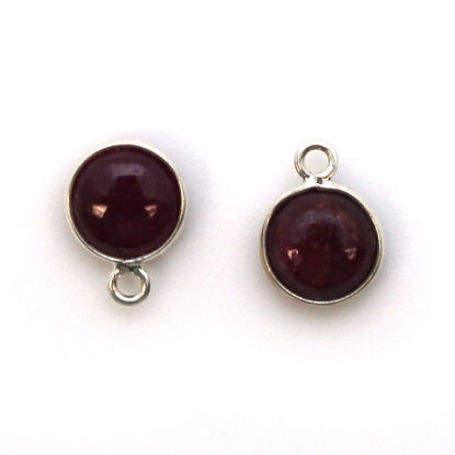 Wholesale Bezel Charm Pendant - Sterling Silver Charm - Natural Ruby -Tiny Round Shape