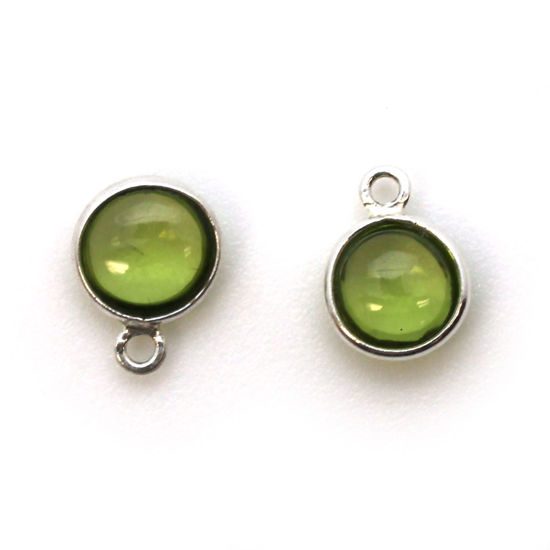 Wholesale Bezel Charm Pendant - Sterling Silver Charm - Natural Peridot -Tiny Round Shape