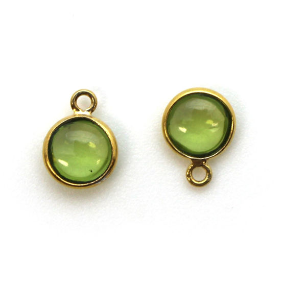 Wholesale Bezel Charm Pendant - Gold Plated Sterling Silver Charm - Natural Peridot -Tiny Round Shape