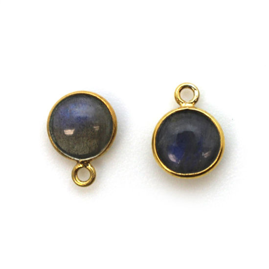 Wholesale Bezel Charm Pendant - Gold Plated Sterling Silver Charm - Natural Labradorite -Tiny Round Shape