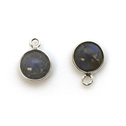 Wholesale Bezel Charm Pendant - Sterling Silver Charm - Natural Labradorite -Tiny Round Shape