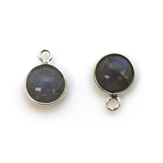 Wholesale Bezel Charm Pendant - Sterling Silver Charm - Natural Labradorite -Tiny Round Shape