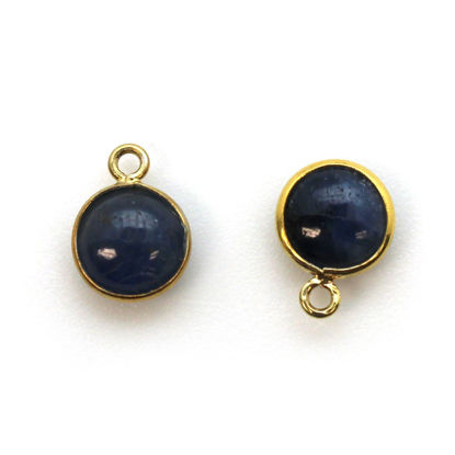 Wholesale Bezel Charm Pendant - Gold Plated Sterling Silver Charm - Natural Blue Sapphire -Tiny Round Shape