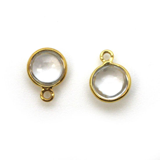 Wholesale Bezel Charm Pendant - Gold Plated Sterling Silver Charm - Natural Crystal-Tiny Round Shape