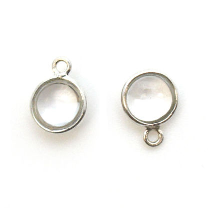 Wholesale Bezel Charm Pendant - Sterling Silver Charm - Natural Crystal-Tiny Round Shape