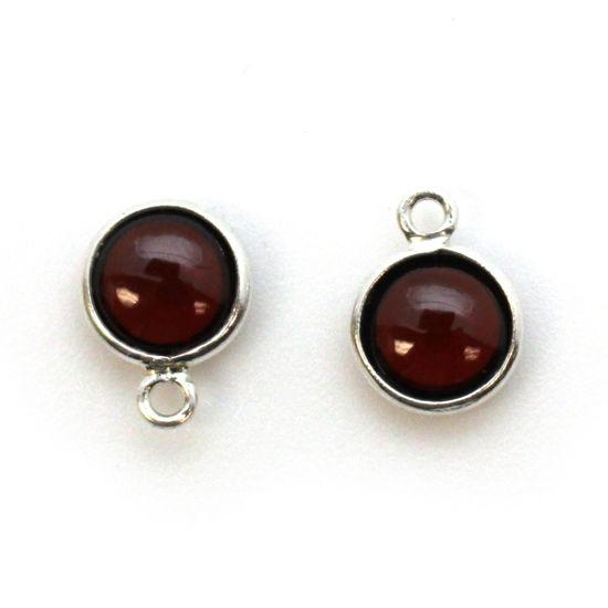 Wholesale Bezel Charm Pendant - Sterling Silver Charm - Natural Garnet-Tiny Round Shape