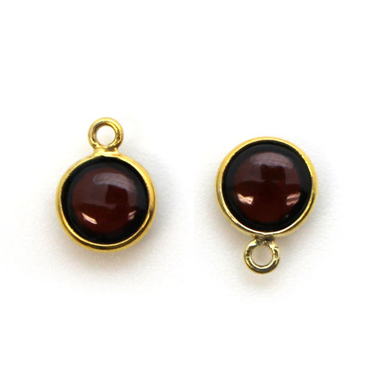 Wholesale Bezel Charm Pendant - Gold Plated Sterling Silver Charm - Natural Garnet-Tiny Round Shape