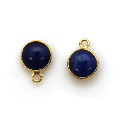Wholesale Bezel Charm Pendant - Gold Plated Sterling Silver Charm - Natural Lapis Lazuli -Tiny Round Shape