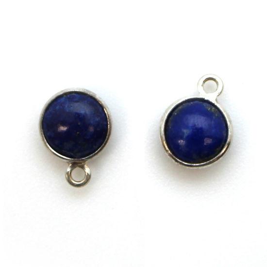 Wholesale Bezel Charm Pendant - Sterling Silver Charm - Natural Lapis Lazuli -Tiny Round Shape