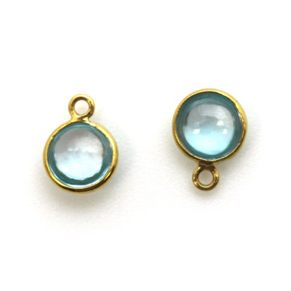 Wholesale Bezel Charm Pendant - Gold Plated Sterling Silver Charm - Natural Sky Blue Topaz-Tiny Round Shape