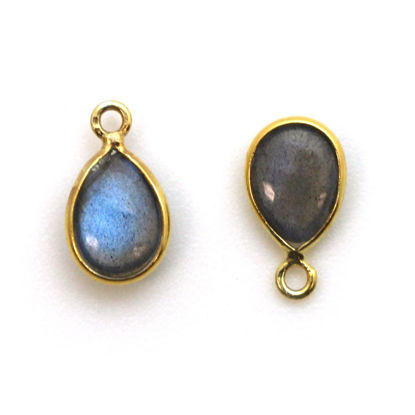 Wholesale Bezel Charm Pendant - Gold Plated Sterling Silver Charm - Natural Labradorite -Tiny Teardrop Shape