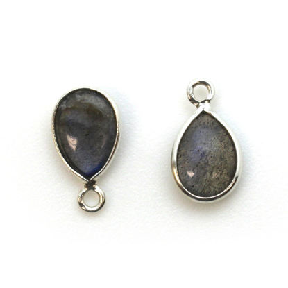 Wholesale Bezel Charm Pendant - Sterling Silver Charm - Natural Labradorite -Tiny Teardrop Shape