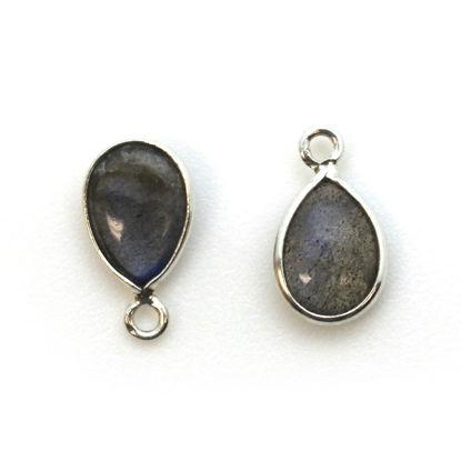 Wholesale Bezel Charm Pendant - Sterling Silver Charm - Natural Labradorite -Tiny Teardrop Shape