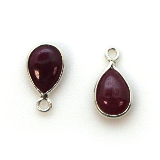 Wholesale Bezel Charm Pendant - Sterling Silver Charm - Natural Ruby -Tiny Teardrop Shape
