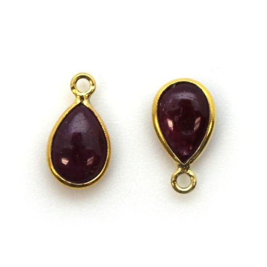 Wholesale Bezel Charm Pendant - Gold Plated Sterling Silver Charm - Natural Ruby -Tiny Teardrop Shape