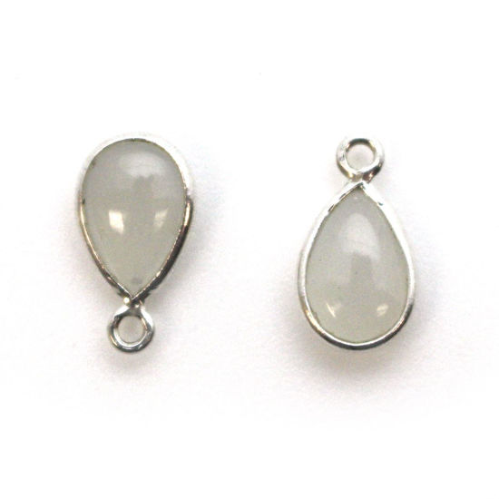 Wholesale Bezel Charm Pendant -Sterling Silver Charm - Natural Moonstone -Tiny Teardrop Shape