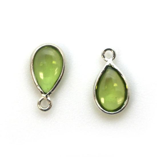 Wholesale Bezel Charm Pendant -Sterling Silver Charm - Natural Peridot -Tiny Teardrop Shape