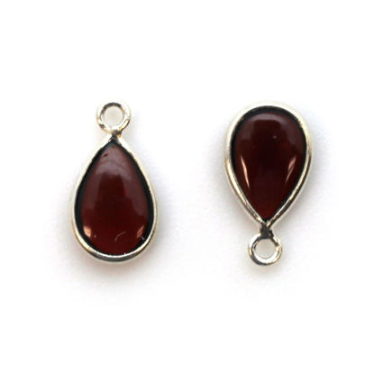 Wholesale Bezel Charm Pendant - Sterling Silver Charm - Natural Garnet -Tiny Teardrop Shape