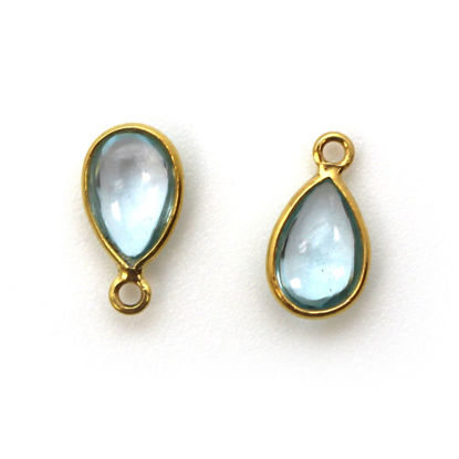 Wholesale Bezel Charm Pendant - Gold Plated Sterling Silver Charm - Natural Sky Blue Topaz -Tiny Teardrop Shape