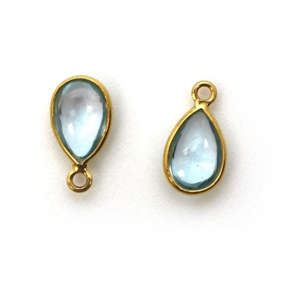 Wholesale Bezel Charm Pendant - Gold Plated Sterling Silver Charm - Natural Sky Blue Topaz -Tiny Teardrop Shape