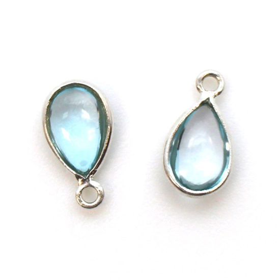 Wholesale Bezel Charm Pendant - Sterling Silver Charm - Natural Sky Blue Topaz -Tiny Teardrop Shape
