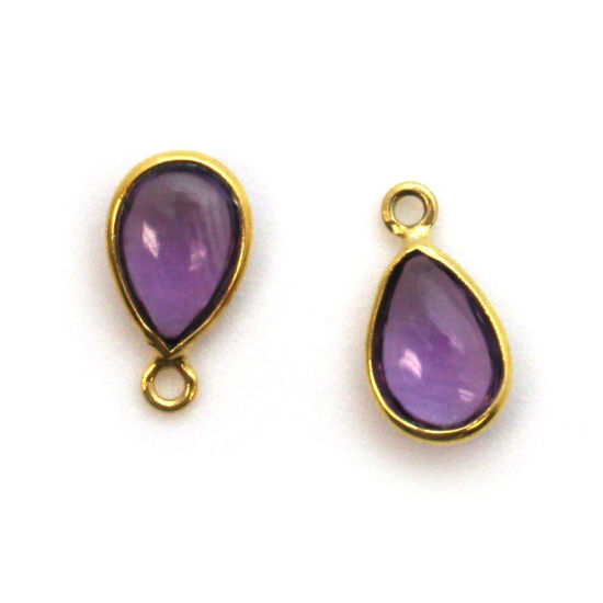 Wholesale Bezel Charm Pendant - Gold Plated Sterling Silver Charm - Natural Amethyst -Tiny Teardrop Shape