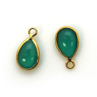 Wholesale Bezel Charm Pendant - Gold Plated Sterling Silver Charm - Natural Green Onyx -Tiny Teardrop Shape