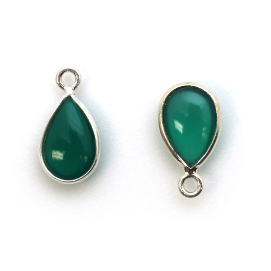 Wholesale Bezel Charm Pendant - Sterling Silver Charm - Natural Green Onyx -Tiny Teardrop Shape