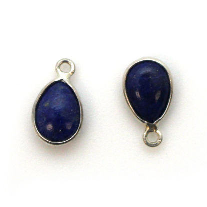 Wholesale Bezel Charm Pendant - Sterling Silver Charm - Natural Lapis Lazuli -Tiny Teardrop Shape