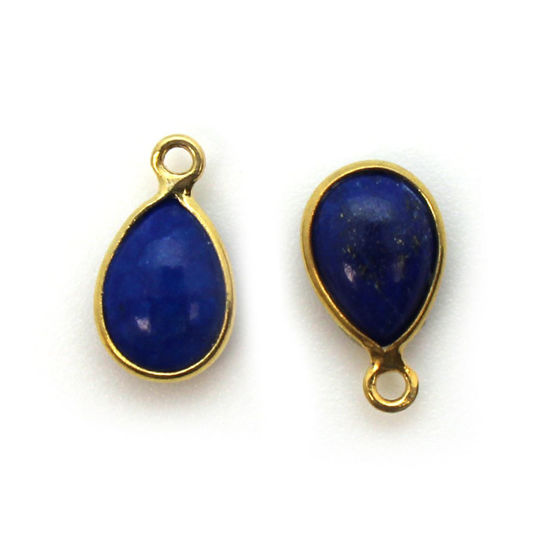 Wholesale Bezel Charm Pendant - Gold Plated Sterling Silver Charm - Natural Lapis Lazuli -Tiny Teardrop Shape