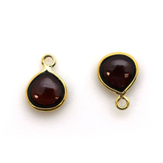 Wholesale Bezel Charm Pendant - Gold Plated Sterling Silver Charm - Natural  Garnet -Tiny Heart Shape -7mm