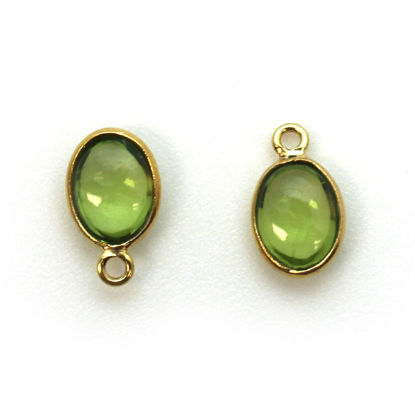 Wholesale Bezel Charm Pendant - Gold Plated Sterling Silver Charm - Natural  Peridot -Tiny Oval Shape