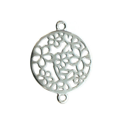 Wholesale Sterling Silver Fancy Flower Filigree Charm, Charms and Pendants for Jewelry Making, Wholesale Findings