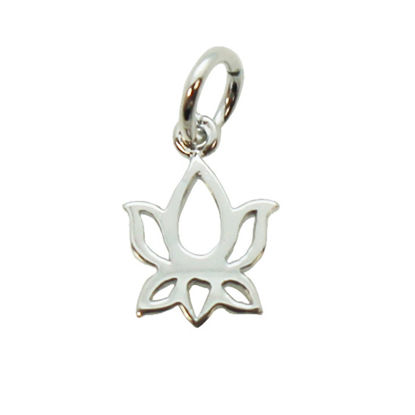 Wholesale Sterling Silver Lotus Flower Charm Pendant - 10mm (1 pc)