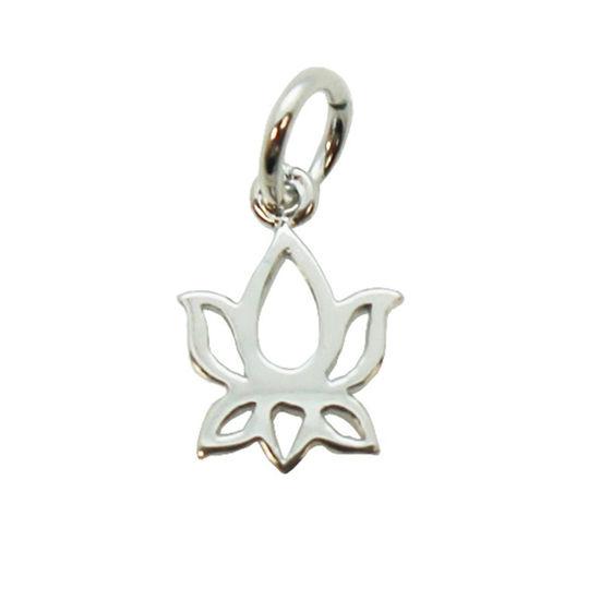 Wholesale Sterling Silver Lotus Flower Charm Pendant - 10mm (1 pc)