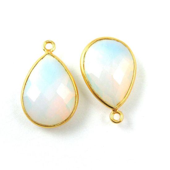 Wholesale Gold plated Sterling Silver Teardrop Opalite Quartz Bezel Gemstone Pendant, Wholesale Gemstone Pendants for Jewelry Making