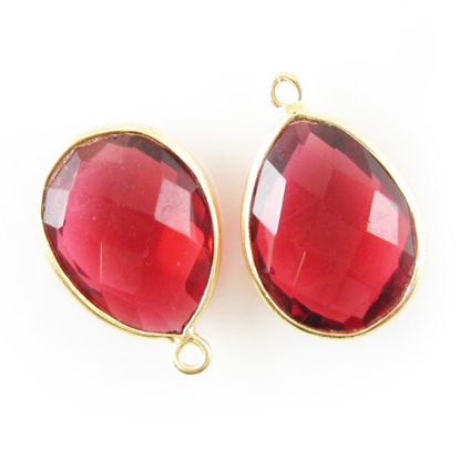 Wholesale Gold plated Sterling Silver Teardrop Bezel Rubylite Quartz Gemstone Pendant, Wholesale Gemstone Pendants for Jewelry Making