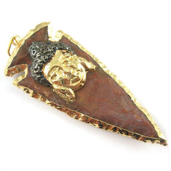 Wholesale Buddha Pendant, Druzy Pendant, Large Gold Bodhi, Nature Agate Jasper Buddha Pendant, 24K Gold plated Brass, Jasper Spear Pendant
