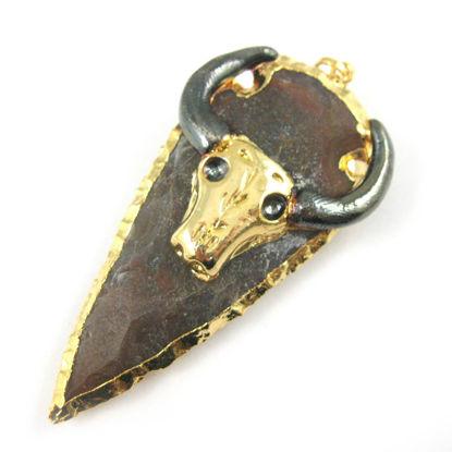 Wholesale Druzy Spear Pendant, Cattle Skull Pendant, Gold plated Jasper Cattle Skull,  24K Gold plated Brass,Jasper Arrowhead Spear Pendant