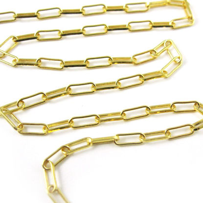 Wholesale Chains, Gold Plated Over Sterling Silver Rectangle Box Chain, 6.5mm Long, Bulk Chain By The Foot