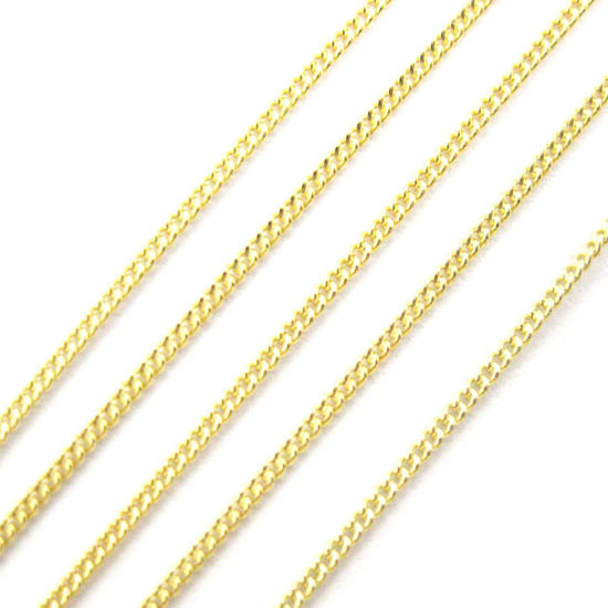 Wholesale Gold over Sterling Silver Jewelry Making Chain - 1mm Tiny Curb Chain- Bulk by the foot