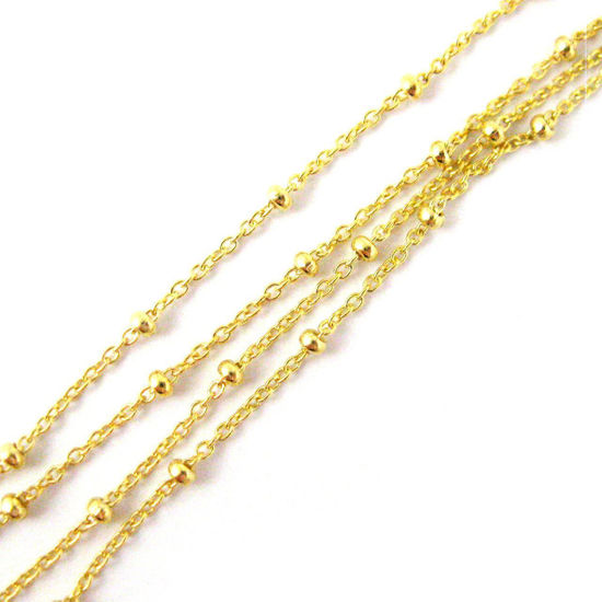 Wholesale Chains, Gold plated Sterling Silver Beaded Ball Satellite Chain, Bulk Chain by the foot