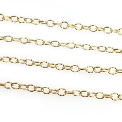 Wholesale Gold Plated Sterling Silver Chain - Small Round Cable Bulk Chain 1.3x2mm (sold per foot)