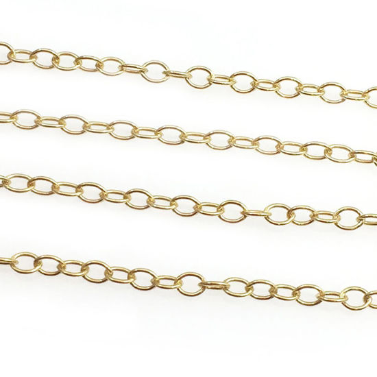 Wholesale Chain, Gold plated Sterling Silver Light Cable Chain 2 by 1.5mm Bulk Chain by the foot