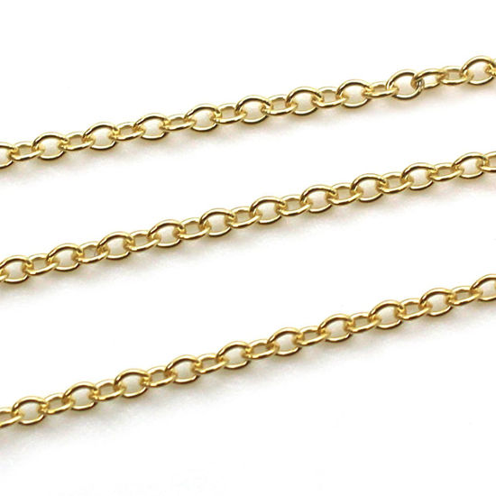 Wholesale Chain, Gold plated Sterling Silver Vermeil 2mm Strong Cable Chain Bulk Chain by the foot