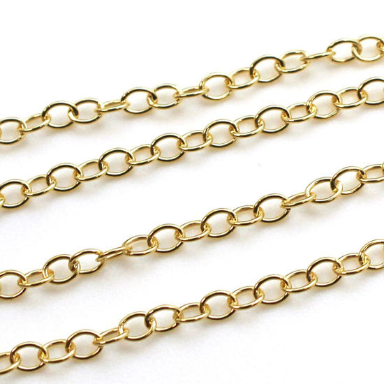 Wholesale Chain, Gold plated Sterling Silver Oval Round Cable Chain, bulk chain