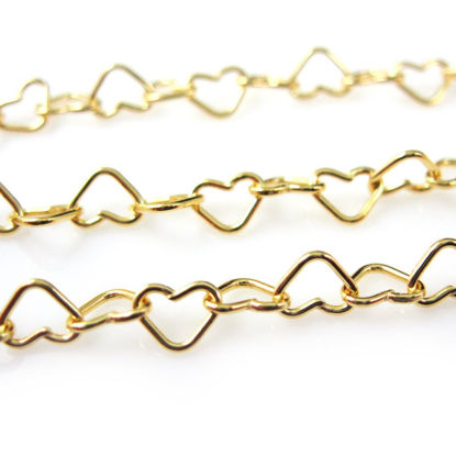 Wholesale Chain, Gold plated Sterling Silver Heart Chain Link, Bulk Chain by the foot