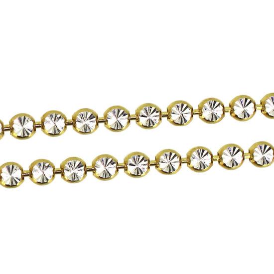 Wholesale Gold Over Sterling Silver Chain - Diamond Cut Bead Chain - Bulk Chain (Sold Per Foot)
